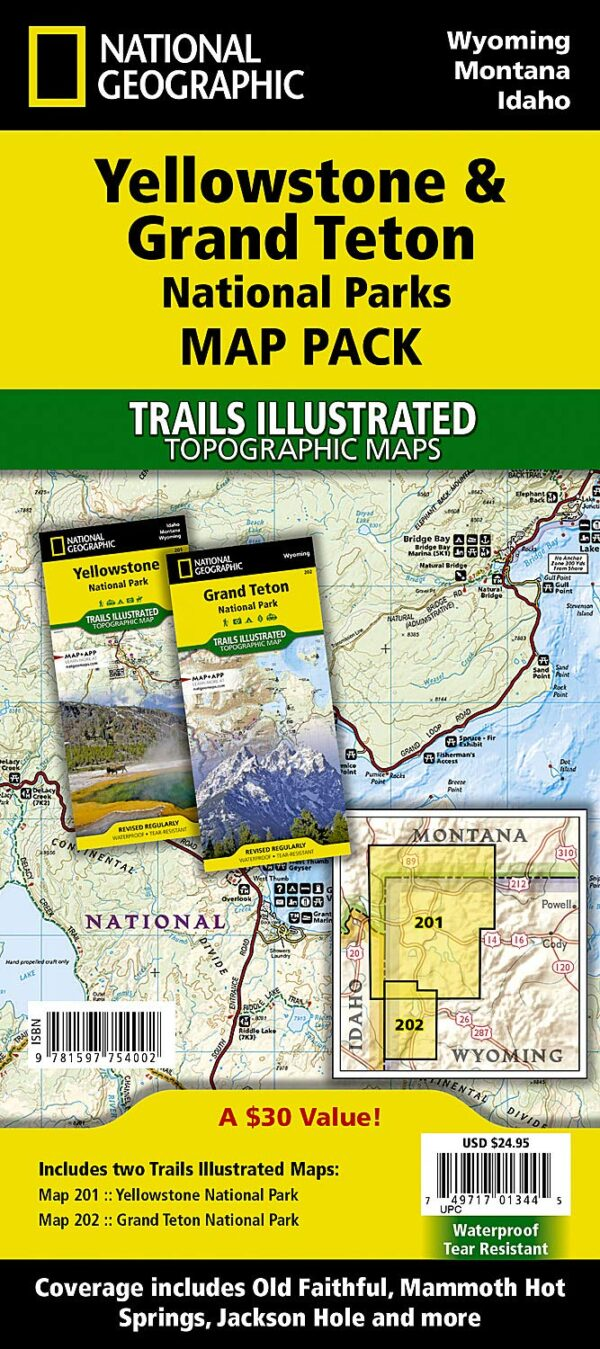 Trails Illustrated Maps: Wyoming - Yellowstone/grand Teton National Park Sectional Map Pack Bundle